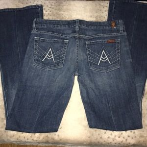 """7 FOR ALL MANKIND """"A"""" pocket flair jeans Sz 29"""
